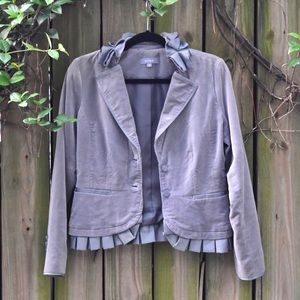 VINTAGE Gray Blazer with ruffles along the collar!